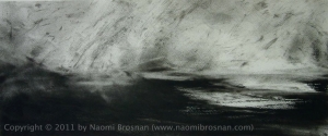Chasing Rain Toward the Cow - 70cm x 40cm - Charcoal On Paper 2005